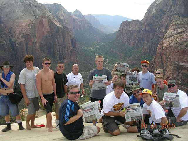 Boy Scout Troop Crew 491, sponsored by the Castaic Ward of the Church of Jesus Christ of Latter-day Saints, hauled The Signal to the top of Angel's Landing in Zion National Park in Utah in October 2010.