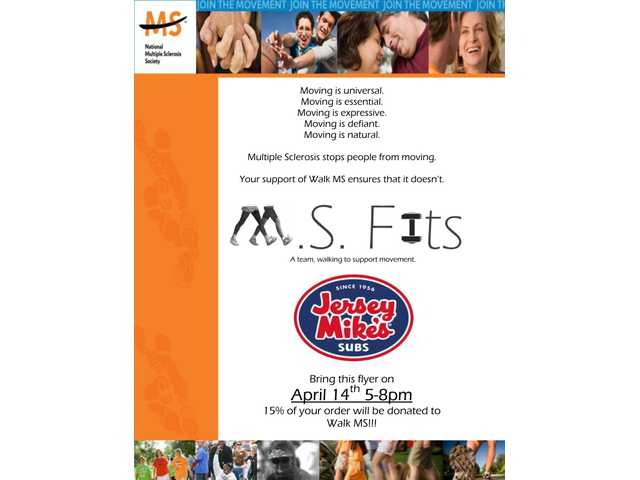 Jersey Mike's in Santa Clarita will donate 15 percent of customer orders to Walk MS 2011 on Thursday, April 14, from 5 p.m. to 8 p.m.