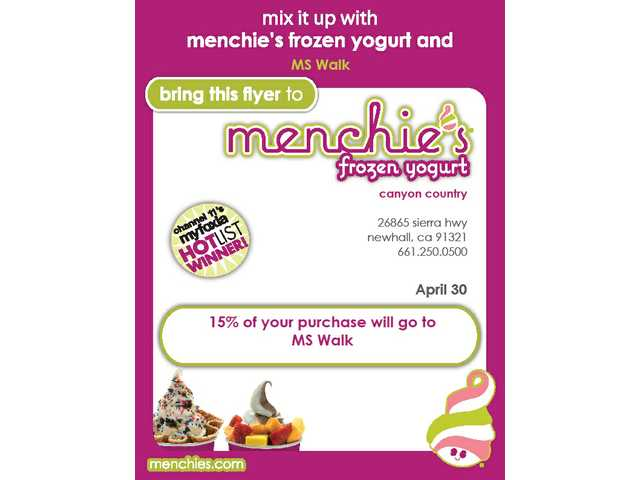 Menchie's in Canyon Country will donate 15 percent of customer orders to Walk MS 2011 on Saturday, April 30.