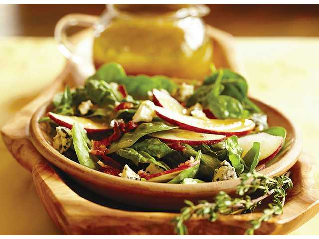Spinach salad with warm maple Dijon vinaigrette