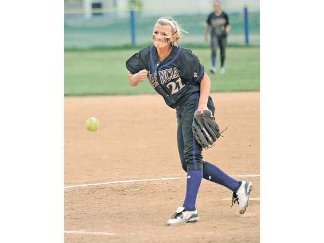 Valencia sophomore pitcher Sydney Mundell throws against Saugus on Thursday at Saugus High School.