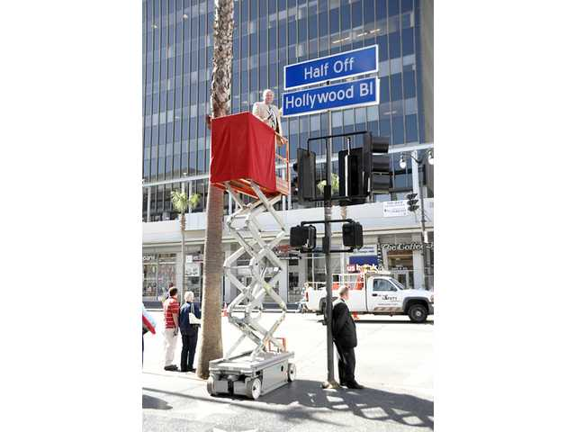 "L.A. City Councilman Tom LaBonge gave Hollywood Boulevard a new name today. The famous road is now called ""Half-Off Hollywood Boulevard"" in honor of the inaugural Half-Off Hollywood Month in May."