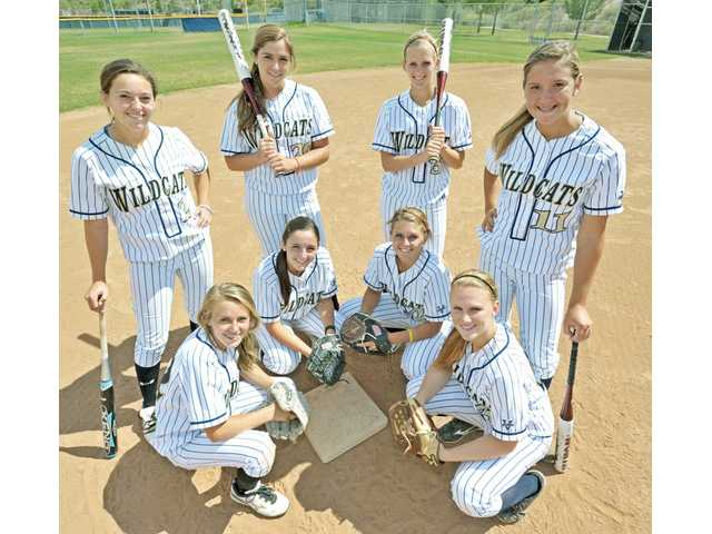 (Top and bottom, from left) West Ranch sisters Kylie and Mollie Sorenson, Janelle and Lauren Lindvall, Alex and Taylor Gaff, and Julia and Lauren Lombardi have helped the softball team reach the CIF-Southern Section Division I playoffs.