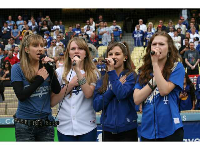 Little Ladiez -- from left, Molly J. Ryan, Hayley Smith, Lindsay Ryan and Kelsey Lee Smith, all from Santa Clarita -- won the audition to sing at SCV Dodger Day at Dodger Stadium on Saturday.