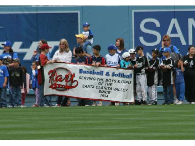 Hart Baseball & Softball was among the Youth Parade groups introduced at Dodger Stadium at SCV Dodger Day pre-game ceremonies on Saturday.