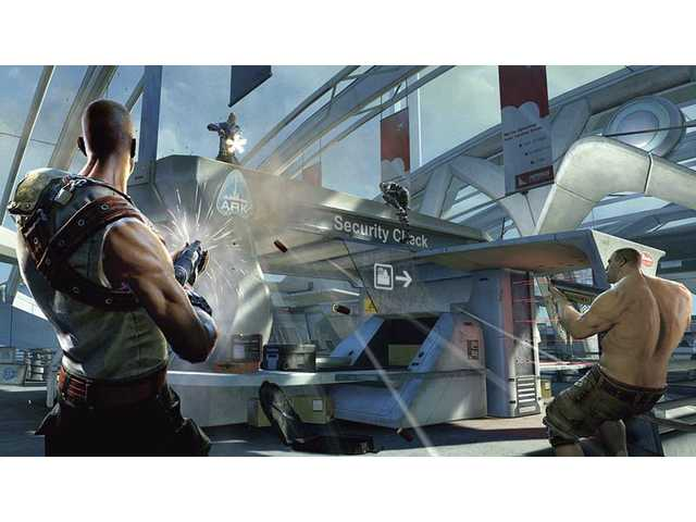 "In this video game image from Bethesda Softworks, two factions battle for control of a floating city in ""Brink."""