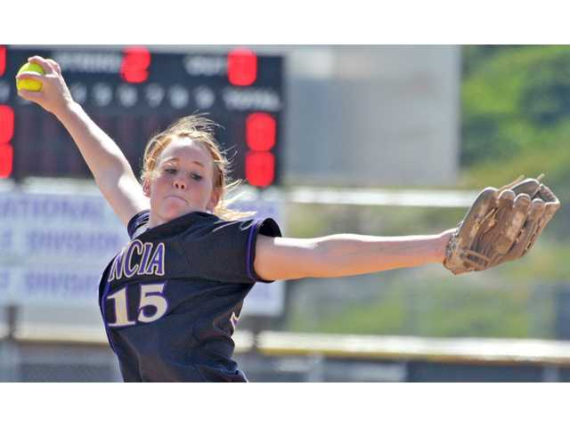 Valencia pitcher Carly Mortensen delivers against Vista Murrieta during the second inning on Tuesday in the CIF-Southern Section Division I second round at Valencia High School.