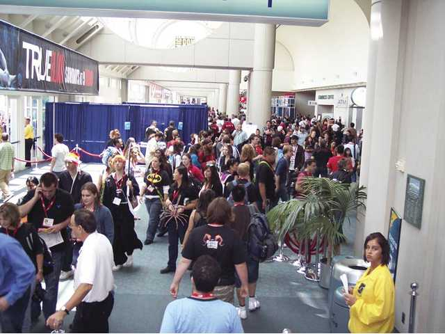 Crowds of attendees fill the halls of the San Diego Convention Center during the 2010 Comic-Con event.