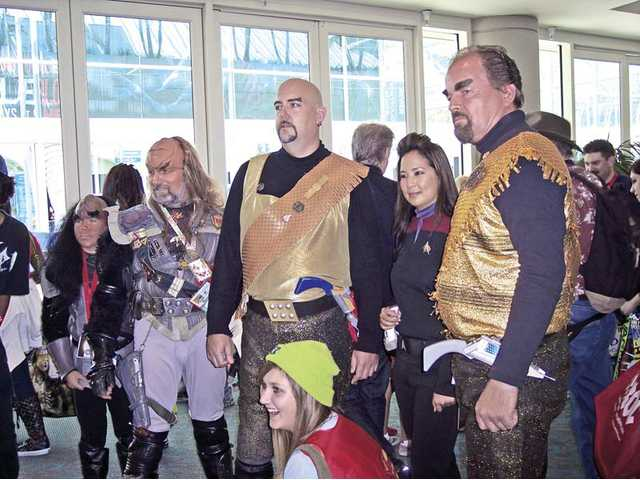 Klingons and Star Fleet personnel pose for a photo at the 2010 Comic-Con event held in San Diego.
