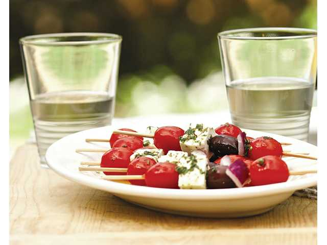Skewered Greek salad