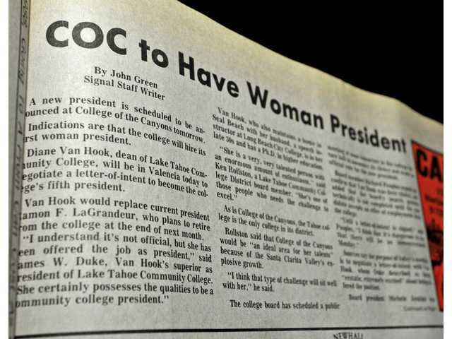The headline of the May 15, 1988, Signal newspaper announcing Van Hook's appointment as the new CEO of COC.