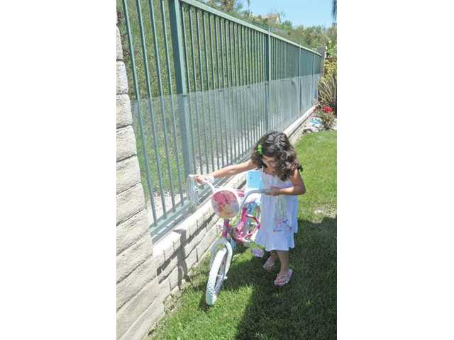 Olivia Afetian, 8, plays by the 6-foot fence with chicken wire attached that surrounds the backyard where Bella was apparently taken.