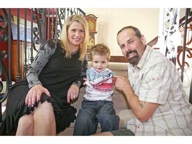 Eisler with wife, actress Kristy Swanson, and their son Magnus at their Saugus home in 2009.