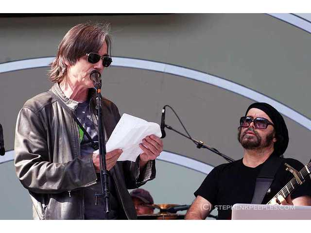 Cuban music supporter Jackson Browne (left) introduced Carlos Varela on Sunday, June 12, during the 33rd annual Playboy Jazz Festival at the Hollywood Bowl. It was the first U.S. performance by Varela, considered by many to be the island nation's Bob Dylan.
