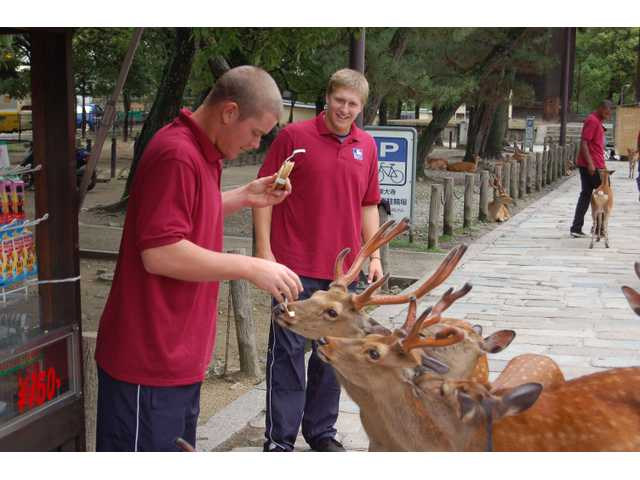 J.C. Cloney, left, and Ryan Keller feed some deer at a Buddhist Temple outside of Osaka, Japan.