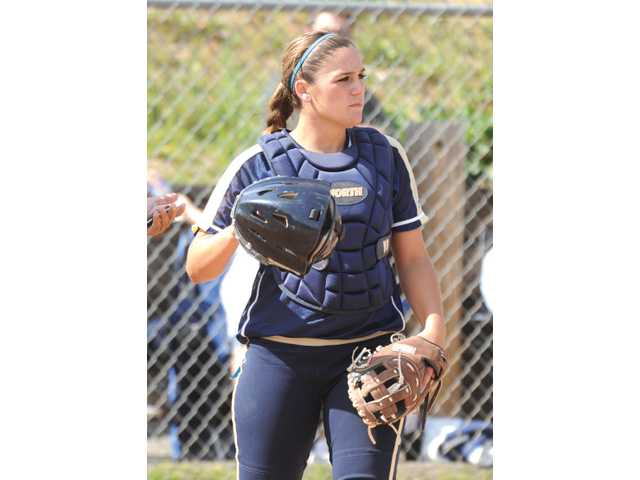 Catcher Janelle Lindvall helped the softball team finish second in the Foothill League and win its first playoff game.