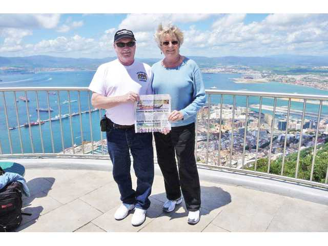 "Jack and Jeanne Spencer, of Valencia stand atop the ""Rock of Gibraltar"" on May 7 during their recent trip to Spain and Portugal."