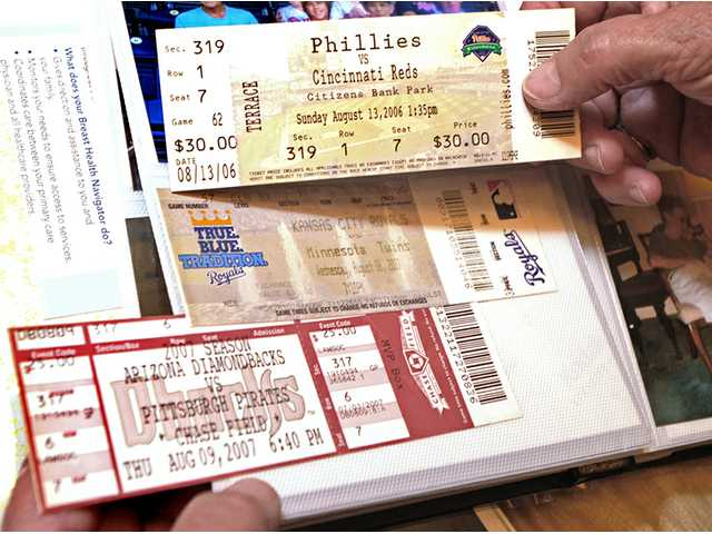 Ticket stubs from among the many Major League Baseball games the Fullers have attended. From top, the Phillies versus Cincinnati Reds, Kansas City Royals versus Minnesota Twins and the Arizona Diamondbacks versus the Pittsburgh Pirates.
