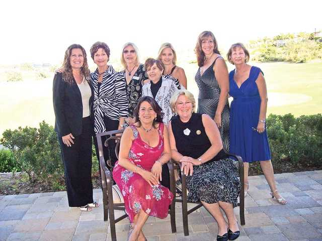 New officers for Soroptimist International of SCV, standing left to right, Vice President Brenda Videgain; Director/Parliamentarian Kaye Cruger; Recording Secretary Sue Boscamp; Director Estelle Carney;  Corresponding Secretary Wendy Smith; Treasurer Kelly Inga; and Treasurer-elect Janet Kachorsky. Seated, President Sandi Naba and President-elect Lori Hollister.