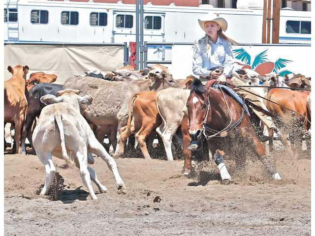 West Ranch junior Chrissy Madgwick and her horse Johny try to prevent a cow from rejoining the herd during a horse cutting competition. Madgwick won the California High School Rodeo Association state title.