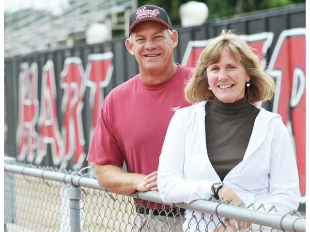 Hart High co-athletic directors Mike Herrington, left, and Linda Peckham have been at the school during its highs and lows. Herrington and Peckham both say that this year's enrollment increase could have an affect on the school's athletic programs.