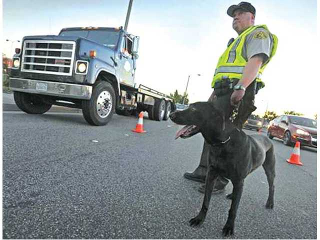 Deputy Jonn Eidem handles Gunner, an alcohol- and marijuana-sniffing Labrador at a DUI and driver's license checkpoint on Valencia Boulevard west of Bouquet Canyon Road in Valencia on July 15.