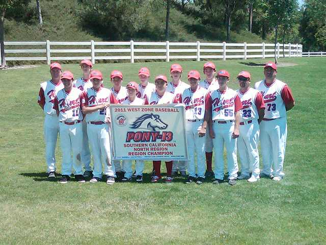 The William S. Hart PONY-13 all-star team, back row from left, assistant coach Dan Little, Eric Little, David Hoetzlein, Brenden Silverman, Holden Mehr, Jack Ralston, head coach Hugo Lopez. Front row from left, Austin Ragusin, Jacob Lopez, Griffin Peters, A.J. Sabedra, Lukas Granado, Anthony Lepre, assistant coach Dave Sabedra