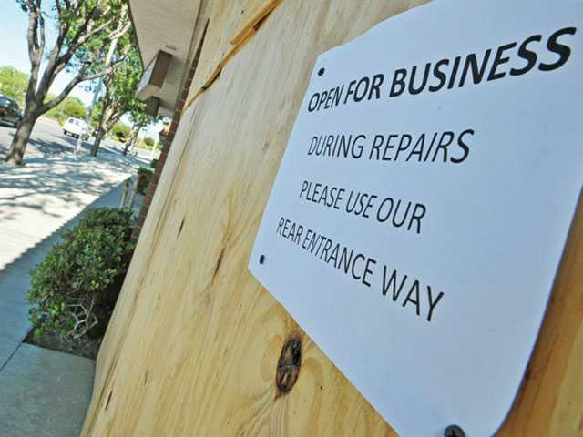 Damaged businesses up and running