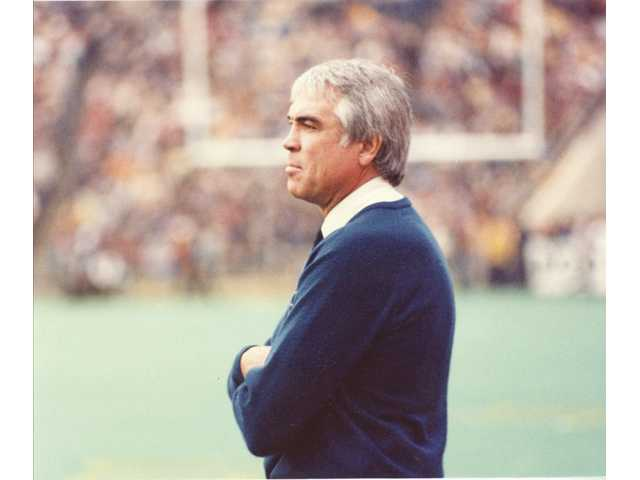 "Hart High graduate Joe Kapp stands on the sidelines as the head coach of the University of California, Berkeley Golden Bears in 1982. Kapp's experiences helped foster a creative, never-quit attitude that was evident during ""The Play."""