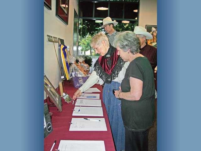 Laurene Weste, left, and Marsha McLean bid on silent-auction items.