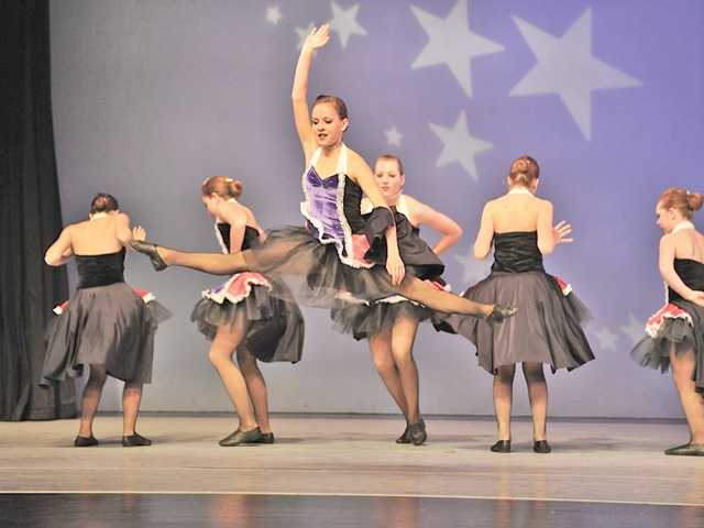 "Students from The Dance Experience performing ""Viva la Vida"" routine during a competition in Upland in March."