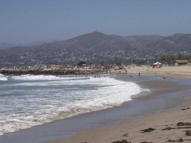 The beach in Ventura is relatively uncrowded compared to Los Angeles County standards.