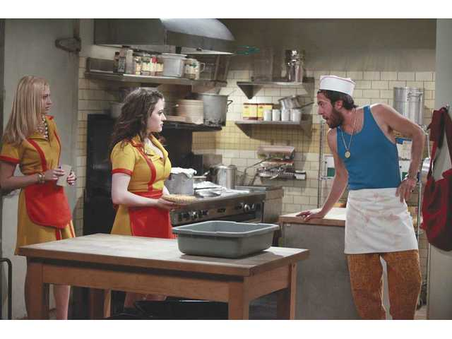 """2 Broke Girls"" debuts on CBS 9:30 p.m. Monday, Sept. 18. L-R, Beth Behrs, Kat Dennings and Jonathan Kite."