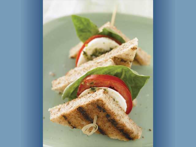 Whole grain caprese sandwich bites