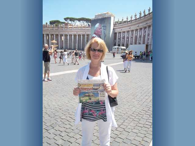 Penni Perrault took The Signal with her to The Vatican in Rome.