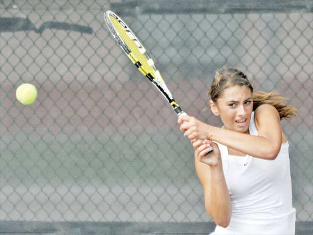 Valencia High junior Brigitta Benitez has stepped into the No. 1 singles spot for the Vikings this season.