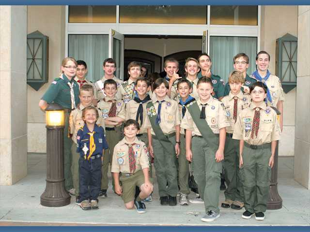 Boy Scout representatives greet attendees at the sixth annual Leaders of Character Recognition Dinner held Saturday at the Hyatt Regency Valencia.
