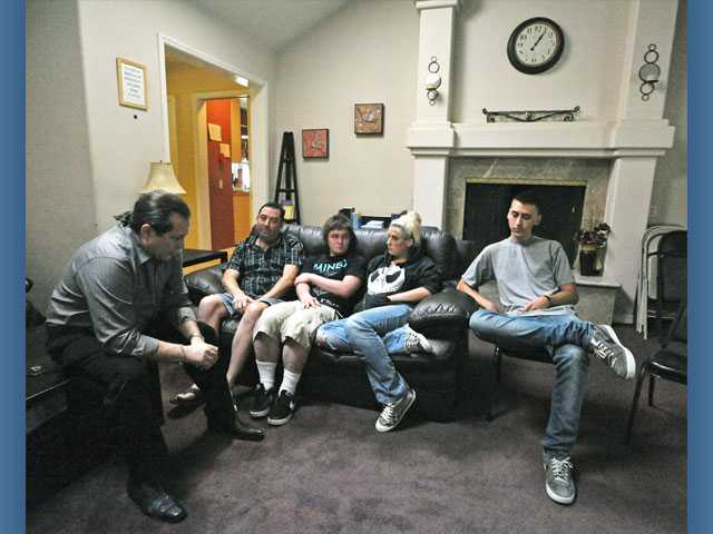 Quashen attends a recovery meeting at the ACTION Adult Ranch in Saugus with Gregg Davis, Derek Patterson, Taylor (no last name given) and Steven Cummings.
