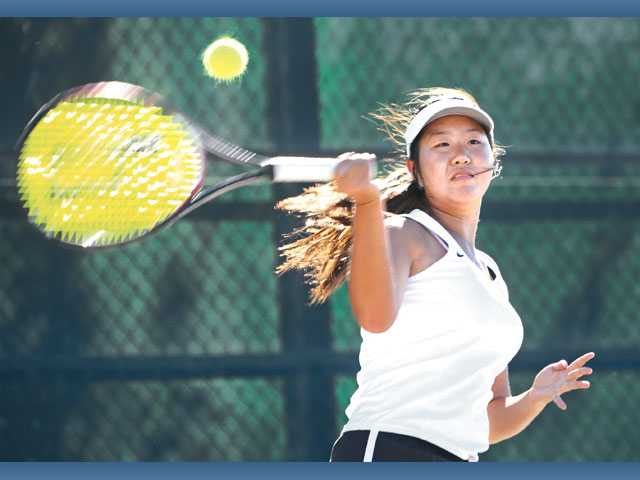 Golden Valley's Rachel Ho returns against Valencia on Tuesday at Golden Valley High.