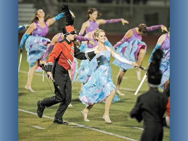 Hart Regiment students Courtney Nix and Garett Dahl participate in the recent West Ranch Wildcat Classic at Valencia High School. Hart Regiment received the top awards at the first competition of the season.