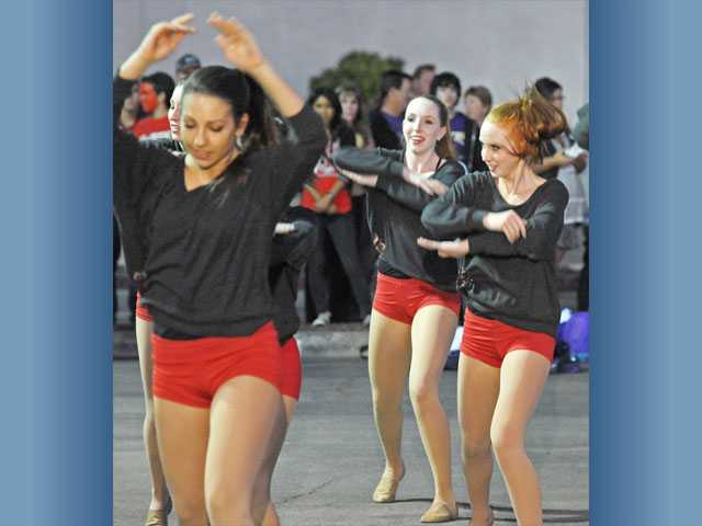 Hart High School's dance team performs at the pep rally Wednesday.