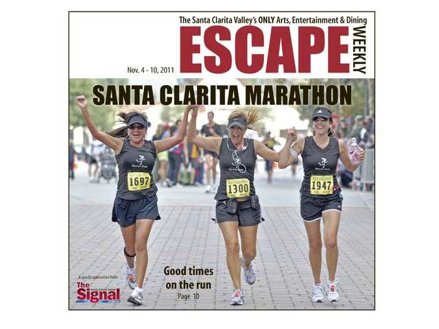 From left, Stephanie Mestas, Robin Ditomaso and Nicole Schweitzer finish the Santa Clarita Half Marathon in 2010.