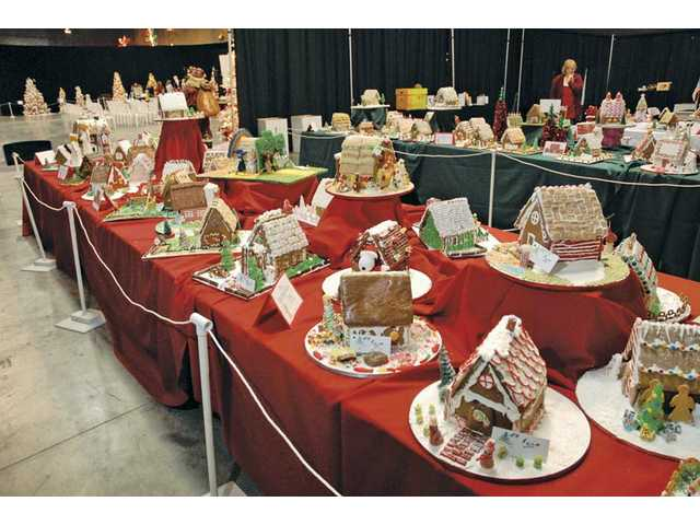 Gingerbread houses on display.