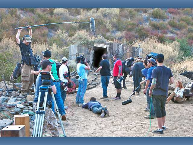 "A film crew shoots a scene for ""Yellow Rock"" at the opening of a mine on the Veluzat Movie Picture Ranch earlier this year. The movie premiered Nov. 1 at the eighth annual Red Nation Film Festival."