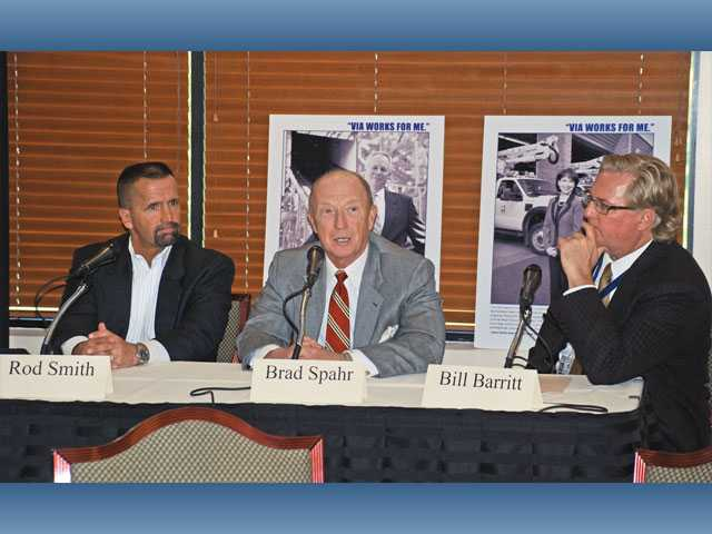 Panel members Rod Smith of Bayless Engineering, Brad Spahr of Specialty Motors and Bill Barritt of Aerospace Dynamics International speak on the manufacturing industry in California at the VIA luncheon Tuesday.