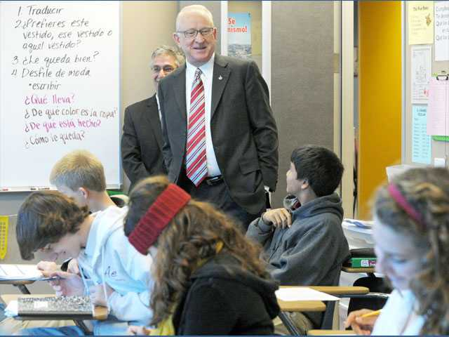 "Rep. Howard ""Buck"" McKeon, R-Santa Clarita, visits Bethany Ergican's Spanish class at the Albert Einstein Academy for Letters, Arts and Sciences in Valencia on Monday."