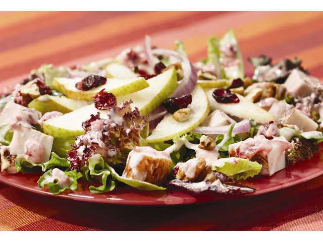 Blushing cranberry and pear turkey salad