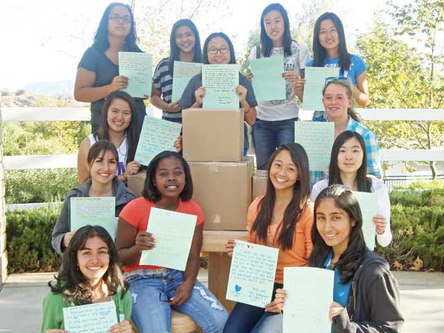 Valencia High School students recently helped make care packages for women in need.