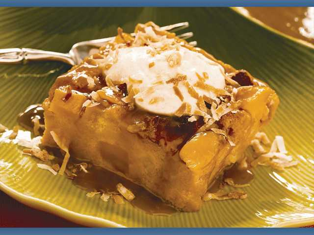 Banana-mango bread pudding with coconut caramel sauce