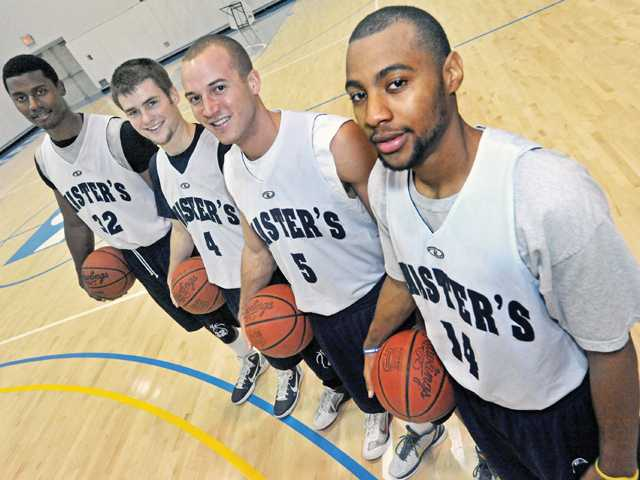 (From left to right) Paul Brown, Leif Karlberg, Devin Dyer and Anthony Cammon are key members of the 2011-12 men's basketball team at The Master's College. The Mustangs are off to a 6-1 start this fall after winning four of their last five games to end last season.